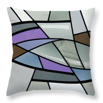 Throw Pillow featuring the glass art Point Grey Abstract by Gilroy Stained Glass