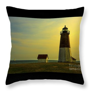 Point Judith Lighthouse Throw Pillow by Diane Diederich