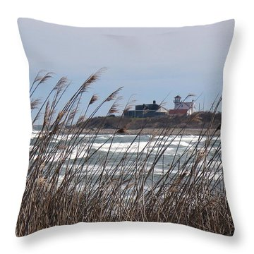 Throw Pillow featuring the photograph Point Judith Lighthouse by Glenn DiPaola