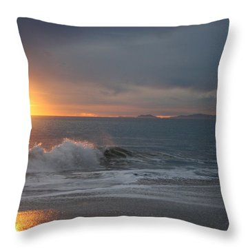 Point Mugu 1-9-10 Sun Setting With Surf Throw Pillow