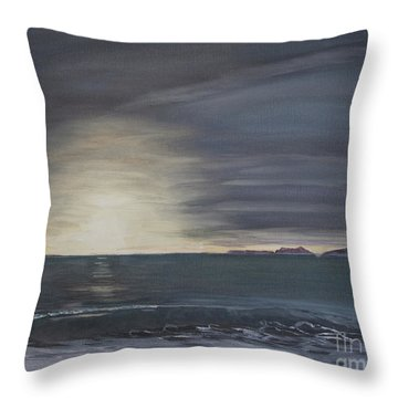 Throw Pillow featuring the painting Point Mugu Sunset by Ian Donley