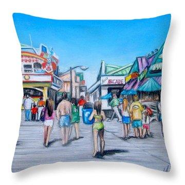 Point Pleasant Beach Boardwalk Throw Pillow by Melinda Saminski