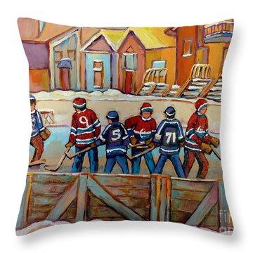 Pointe St. Charles Hockey Rinks Near Row Houses Montreal Winter City Scenes Throw Pillow by Carole Spandau