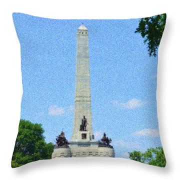 Throw Pillow featuring the digital art Pointelisticlincoln's Tomb  by Luther Fine Art