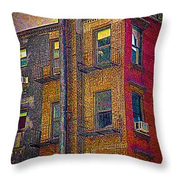 Pointillism In Steel And Brick Throw Pillow by Miriam Danar