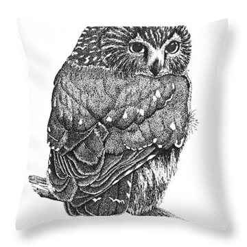 Pointillism Sawhet Owl Throw Pillow by Renee Forth-Fukumoto