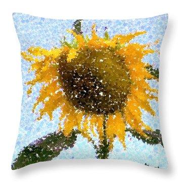 Pointillist Sunflower In Sun City Throw Pillow by Barbie Corbett-Newmin