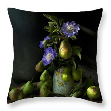 Poires Et Fleurs Throw Pillow by Theresa Tahara