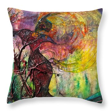 Throw Pillow featuring the painting Poison Ivy by Christy  Freeman