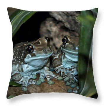 Poisonous Frogs With Sticky Feet Throw Pillow by Thomas Woolworth