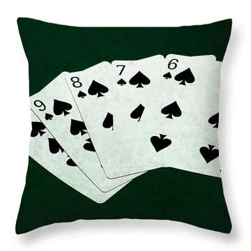 Poker Hands - Straight Flush 1 Throw Pillow