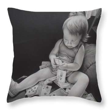 Pokerface Throw Pillow by Pamela Clements