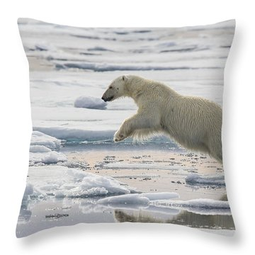 Polar Bear Jumping  Throw Pillow