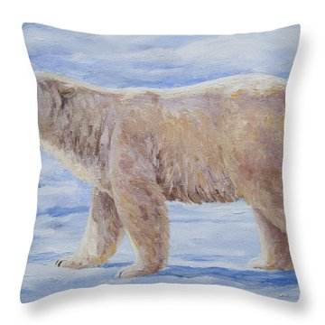 Polar Bear Mini Painting Throw Pillow by Crista Forest