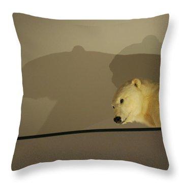 Polar Bear Shadows Throw Pillow