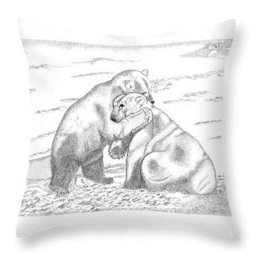 Throw Pillow featuring the digital art Polar Bears by Arthur Eggers