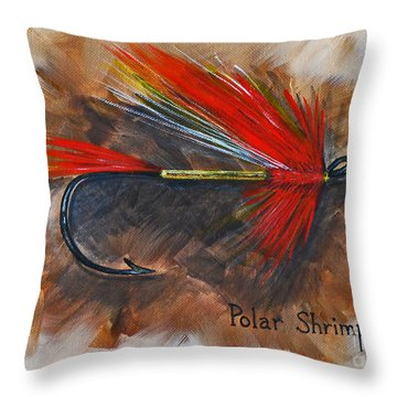Polar Shrimp Fishing Fly Throw Pillow by Cynthia Lagoudakis