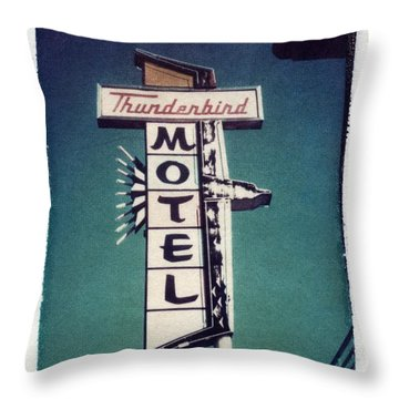 Polaroid Transfer Motel Throw Pillow by Jane Linders