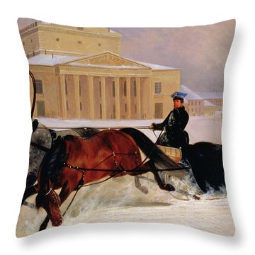 Pole Pair With A Trace Horse At The Bolshoi Theatre In Moscow Throw Pillow by Nikolai Egorevich Sverchkov