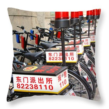 Police Bicycles Throw Pillow