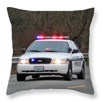 Police Escort Throw Pillow by E Faithe Lester