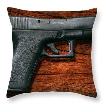 Police - Gun - The Modern Gun  Throw Pillow by Mike Savad