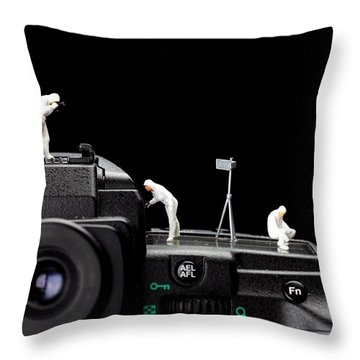Police Investigate On A Camera Throw Pillow by Paul Ge