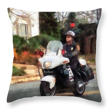 Police - Motorcycle Cop On Patrol Throw Pillow by Susan Savad