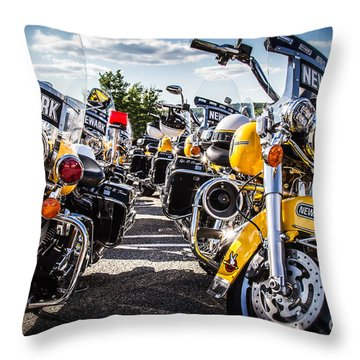 Throw Pillow featuring the photograph Police Motorcycle Lineup by Eleanor Abramson