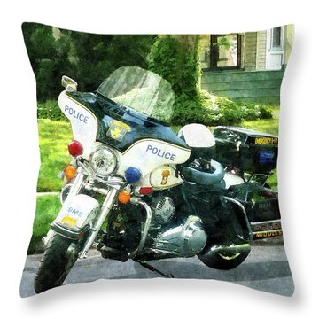 Police - Police Motorcycle Throw Pillow by Susan Savad