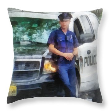 Police - Policeman By Patrol Car Throw Pillow by Susan Savad