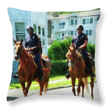 Police - Two Mounted Police Throw Pillow by Susan Savad