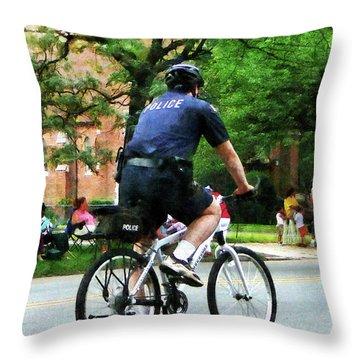 Policeman - Police Bicycle Patrol Throw Pillow by Susan Savad