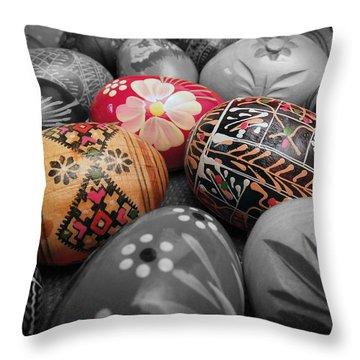 Polish Eggs Throw Pillow by Scott Kingery
