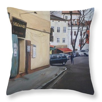 Polish Street Throw Pillow by Cherise Foster