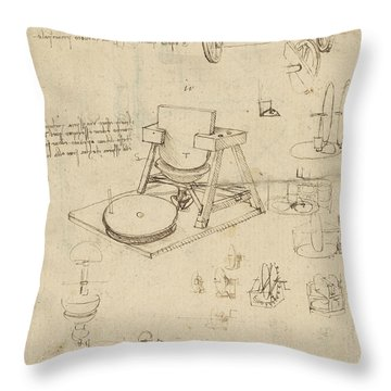 Polishing Machine Formed By Two Wheeled Carriage From Atlantic Codex Throw Pillow by Leonardo Da Vinci