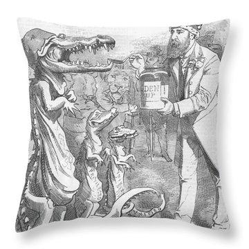 Political Crocodile Throw Pillow
