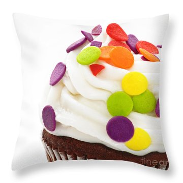 Polka Dot Cupcake Throw Pillow by Andee Design