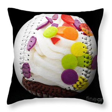 Polka Dot Cupcake Baseball Square Throw Pillow by Andee Design