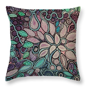 Polka Dot Flowers Throw Pillow by Barbara St Jean