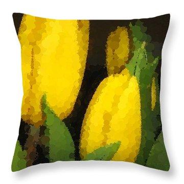 Polka Dot Yellow Tulips Throw Pillow by Barbara Griffin