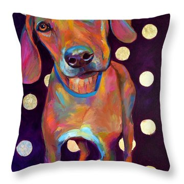 Throw Pillow featuring the painting Polka Pooch by Robert Phelps