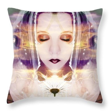 Throw Pillow featuring the photograph Pollen From The Light Flower by Heather King
