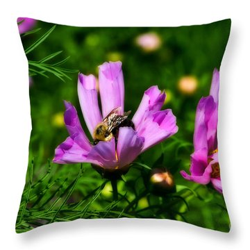 Pollinating Flowering Throw Pillow