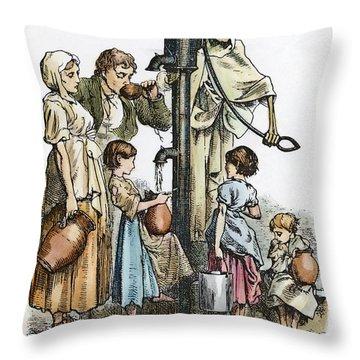 Pollution Cartoon, 1866 Throw Pillow by Granger