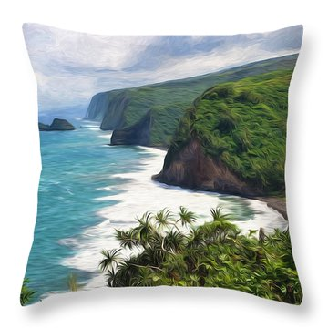 Pololu Valley Beach Throw Pillow