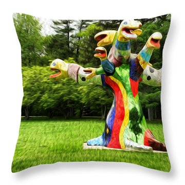 Polycephaly Dragon Throw Pillow