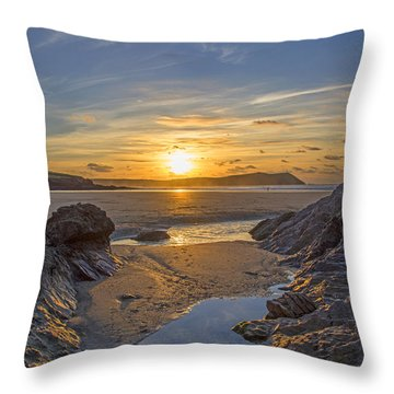 Polzeath Sunset Throw Pillow