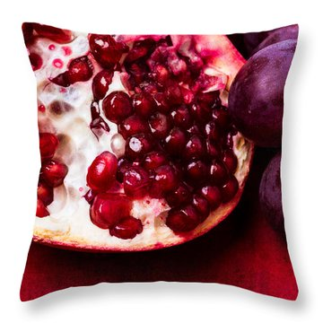 Pomegranate And Red Grapes Throw Pillow by Alexander Senin