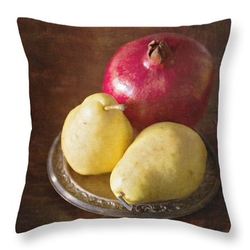 Pomegranate And Yellow Pear Still Life Throw Pillow